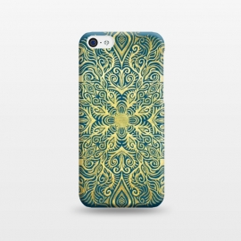 iPhone 5C  Ornate Gold Mandala on Deep Blue by Micklyn Le Feuvre