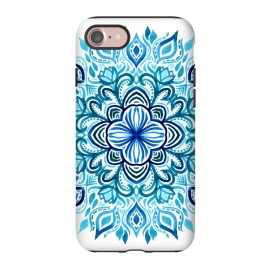 iPhone 8/7  Watercolor Blues Lotus Mandala by Micklyn Le Feuvre