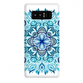 Galaxy Note 8  Watercolor Blues Lotus Mandala by Micklyn Le Feuvre