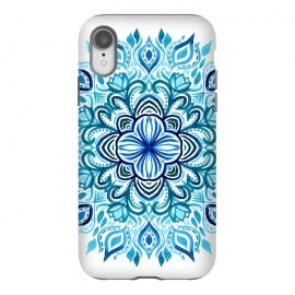 iPhone Xr  Watercolor Blues Lotus Mandala by Micklyn Le Feuvre