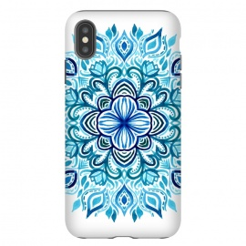 iPhone Xs Max  Watercolor Blues Lotus Mandala by Micklyn Le Feuvre