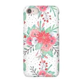 iPhone 8/7  Pretty watercolor Christmas floral and dots design by InovArts