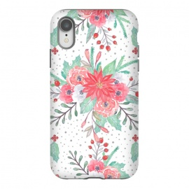 iPhone Xr  Pretty watercolor Christmas floral and dots design by InovArts