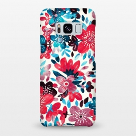 Galaxy S8+  Happy Red & Blue Floral Collage  by Micklyn Le Feuvre
