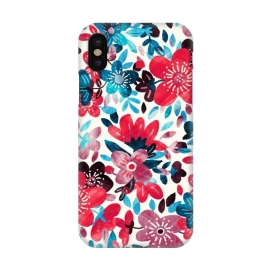 iPhone X  Happy Red & Blue Floral Collage  by Micklyn Le Feuvre (happy,red,floral,flower,flowers,micklyn,collage,teal,turquoise,cherry red,summer,red white and blue,navy,leaves,petals,texture,cheerful,bright,colorful,girly,trendy,popular,style)