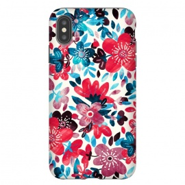 iPhone Xs Max  Happy Red & Blue Floral Collage  by