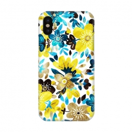 iPhone X  Happy Yellow & Turquoise Floral Collage by  (happy,yellow,golden,teal,mustard,tan,white,floral,flowers,flower,collage,pattern,micklyn,texture,cheerful,sweet,pretty,girly,colorful,fun,summer,petals,leaves,nature)