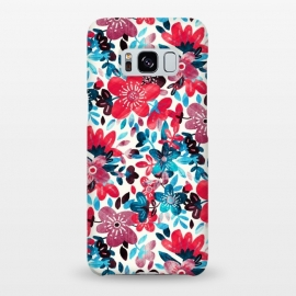 Galaxy S8+  Cheerful Red and Blue Floral Pattern by Micklyn Le Feuvre