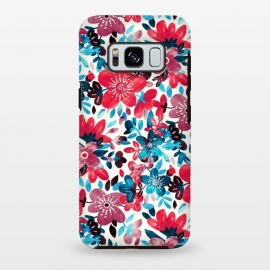 Cheerful Red and Blue Floral Pattern by Micklyn Le Feuvre (bright,colorful,floral,flower,collage,micklyn,red,teal,turquoise,leaves,nature,pattern,cute,girly,pretty,summer,flowers,trend,happy,red and blue,petals,spring)
