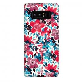 Galaxy Note 8  Cheerful Red and Blue Floral Pattern by Micklyn Le Feuvre (bright,colorful,floral,flower,collage,micklyn,red,teal,turquoise,leaves,nature,pattern,cute,girly,pretty,summer,flowers,trend,happy,red and blue,petals,spring)