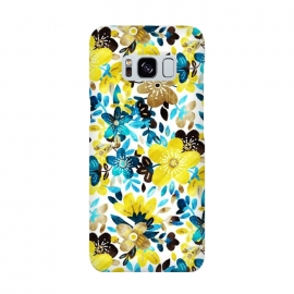Yellow and Turquoise Floral Pattern by Micklyn Le Feuvre