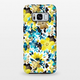 Galaxy S8 plus  Yellow and Turquoise Floral Pattern by  (bright,colorful,happy,summer,spring,floral,mustard,yellow,teal,turquoise,blue,navy,white,micklyn,pattern,texture,petals,leaves,nature,girly,modern,cute,trendy,pretty,sweet)