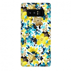 Galaxy Note 8  Yellow and Turquoise Floral Pattern by Micklyn Le Feuvre