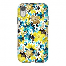 iPhone Xr  Yellow and Turquoise Floral Pattern by Micklyn Le Feuvre