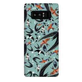 Galaxy Note 8  Bird pattern in turquoise by