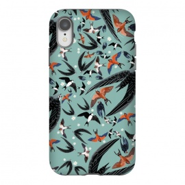 iPhone Xr  Bird pattern in turquoise by