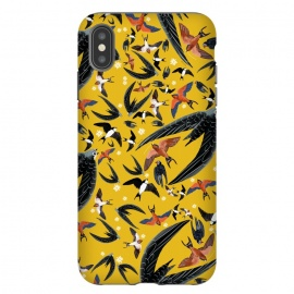 iPhone Xs Max  Birds pattern in yellow by Belette Le Pink