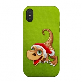 iPhone Xs / X  Dinosaur Baby Cute Santa Claus by BluedarkArt