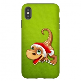 iPhone Xs Max  Dinosaur Baby Cute Santa Claus by BluedarkArt
