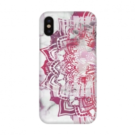 iPhone X  Red pink mandala digital painting on white marble by Oana