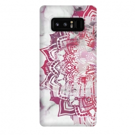Galaxy Note 8  Red pink mandala digital painting on white marble by