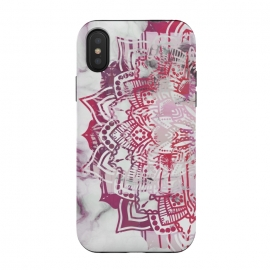 iPhone Xs / X  Red pink mandala digital painting on white marble by