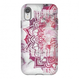 iPhone Xr  Red pink mandala digital painting on white marble by Oana