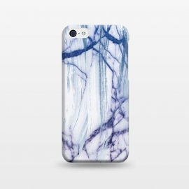 iPhone 5C  White marble with blue cracks brushstrokes by Oana