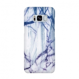 White marble with blue cracks brushstrokes by Oana