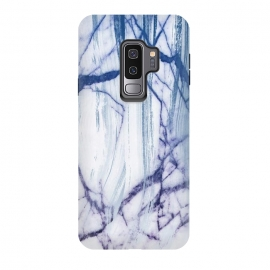 Galaxy S9+  White marble with blue cracks brushstrokes by Oana