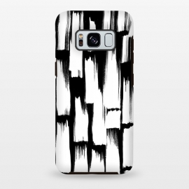 Galaxy S8 plus  Tribal white brushstrokes on black background by