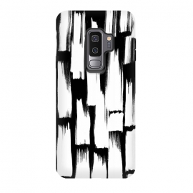Galaxy S9+  Tribal white brushstrokes on black background by Oana