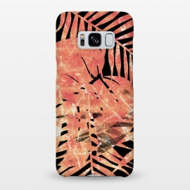 Galaxy S8+  Golden palm and ficus tropical marble leaves on black background by Oana