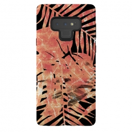 Galaxy Note 9  Golden palm and ficus tropical marble leaves on black background by Oana