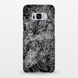 Galaxy S8+  Black and white leaves on marble by Oana