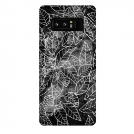 Galaxy Note 8  Black and white leaves on marble by Oana