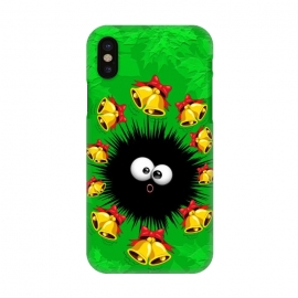 iPhone X  Fuzzy Funny Christmas Sea Urchin Character by BluedarkArt