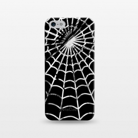 iPhone 5/5E/5s  Black and white textured brushed spider web - Halloween by