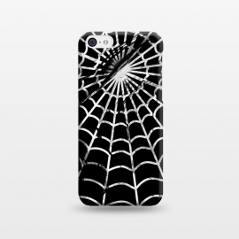iPhone 5C  Black and white textured brushed spider web - Halloween by Oana