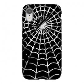iPhone Xr  Black and white textured brushed spider web - Halloween by Oana