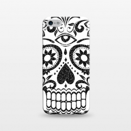 iPhone 5/5E/5s  Black glitter decorated floral sugar skull - Halloween by Oana