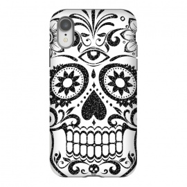 iPhone Xr  Black glitter decorated floral sugar skull - Halloween by