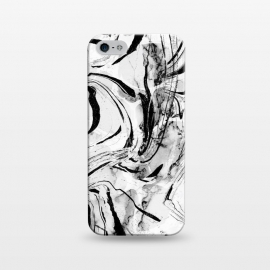 iPhone 5/5E/5s  White marble with black brushed stripes  by Oana