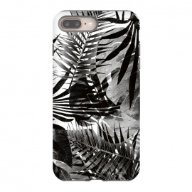 Black ink tropical palm and ficus leaves monochrome jungle by Oana