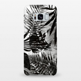 Galaxy S8+  Black ink tropical palm and ficus leaves monochrome jungle by Oana