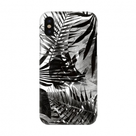 iPhone X  Black ink tropical palm and ficus leaves monochrome jungle by Oana
