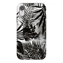 iPhone Xr  Black ink tropical palm and ficus leaves monochrome jungle by Oana