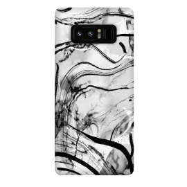 Galaxy Note 8  Minimal white gray marble with black ink brushstroke stripes by Oana