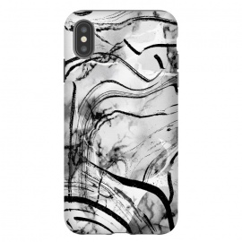 Minimal white gray marble with black ink brushstroke stripes by Oana