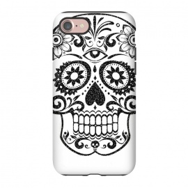 iPhone 8/7  Day of the Dead floral black glitter sugar skull by Oana